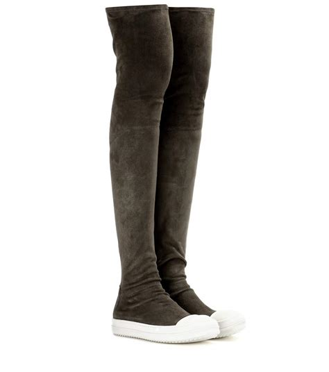sock boots high high sock suede the knee boots rick owens