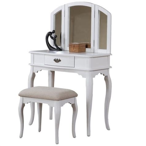 white vanity set for bedroom poundex bobkona jaden vanity set with stool in white f4069