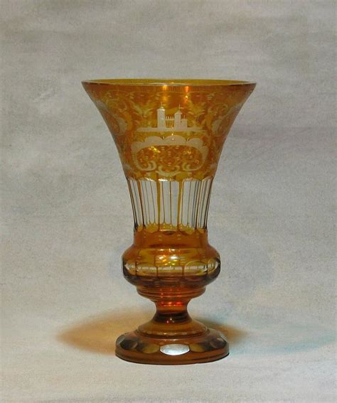 Cut Vases Antique by Antique Bohemian Flashed Cut Glass Vase For Sale At