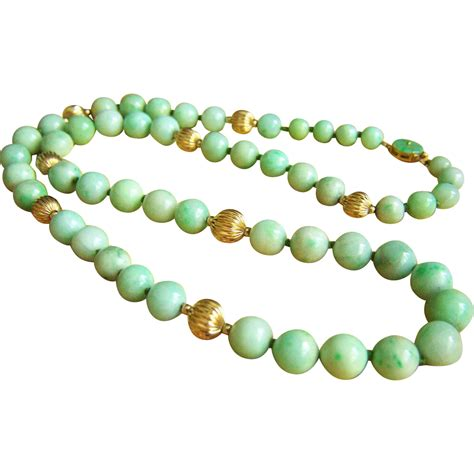 antique jade bead necklace fabulous estate vintage 14k jadeite jade bead necklace 24