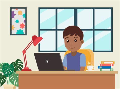 cartoon african american man working  home