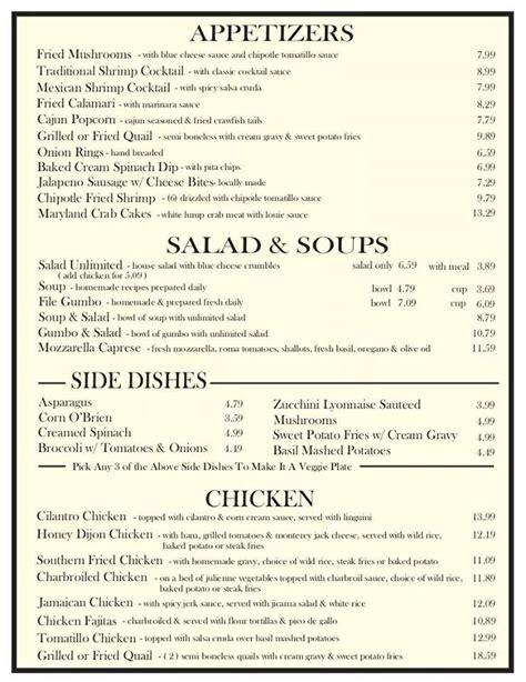 wall street bar grill posts midland texas menu