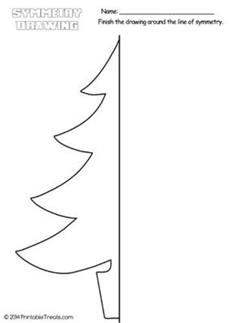 christmas tree symmetry drawing worksheet from