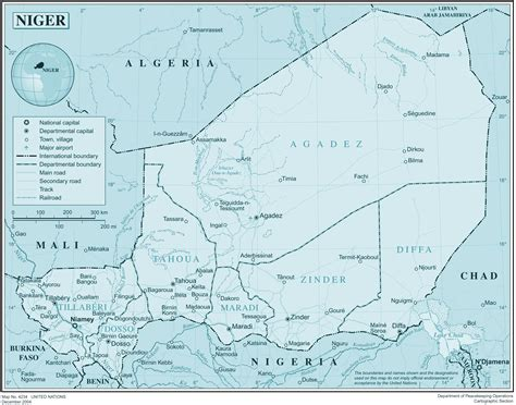 political map of niger large detailed political and administrative map of niger