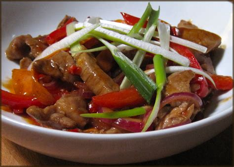 pork stir fry with hoisin and orange sauce a glug of oil