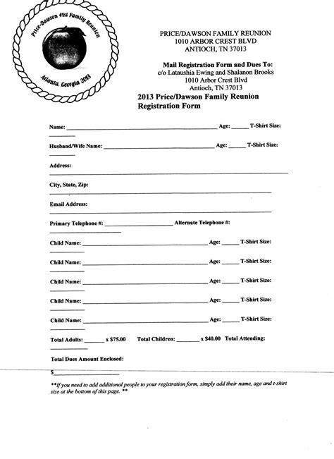 Free Printable Family Reunion Letters First Letter Registration Form June 13 Letter Family Free Family Reunion Survey Templates