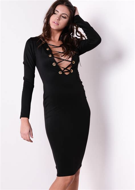 sleeve lace up bodycon dress black