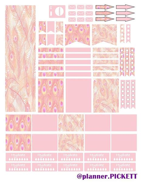 printable planner stickers erin condren full faith peacock pattern pink free sticker