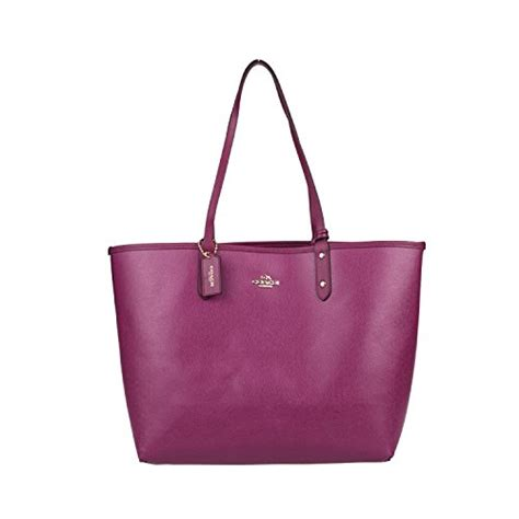 Coach City Tote Sign Saddle 6 coach reversible pvc city tote f36658 brown fuchsia