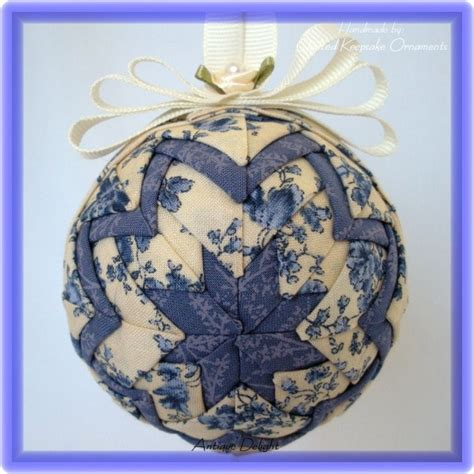 quilted keepsake ornaments vintage blue and white shabby