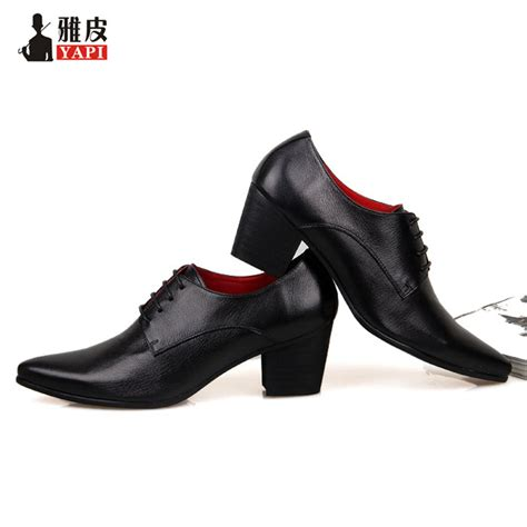high heels mens shoes mens genuine leather lace up height increasing shoes