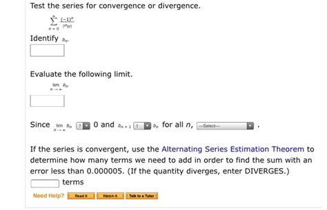 user search terms needed books test the series for convergence or divergence sig