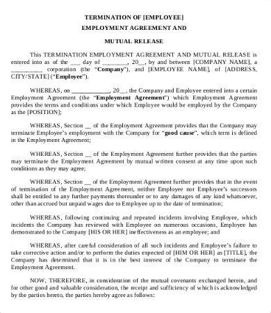 employment separation agreement simple employment separation agreement template 8 free