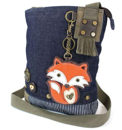 chala purse handbag denim canvas crossbody with key chain tote bag foxy fox ebay
