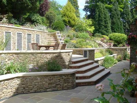 Terraces And Stone Garden Walls For A Steeply Sloped Wall Garden Design