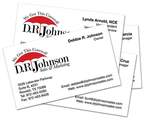 logo and business cards for d r johnsons sales marketing