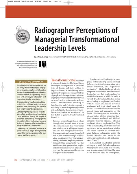 transformational leadership research paper radiographer perceptions of managerial pdf