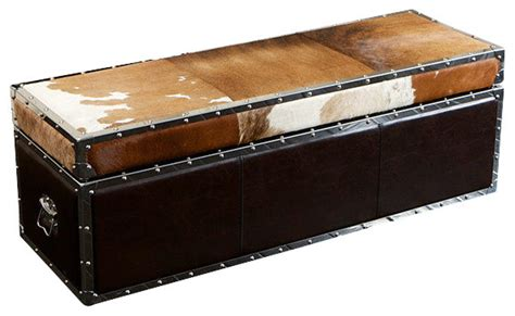 cowhide storage ottoman mccoy cowhide top leather storage ottoman rustic
