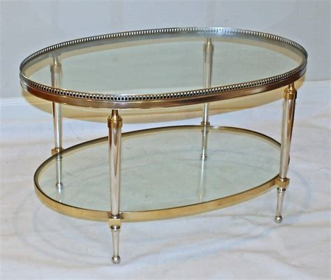 French Silver And Brass Oval Cocktail Coffee Table At 1stdibs Silver Coffee Table