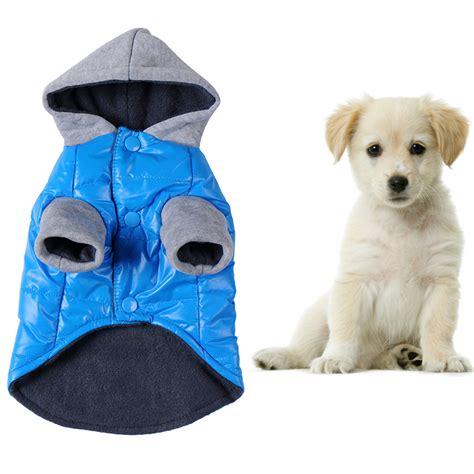 cotton puppy blue pets warm coat pet puppy cotton thermal jackets for pets winter outdoor