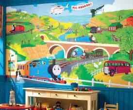 train murals for walls thomas the train chair rail wallpaper mural 6 x 10 5