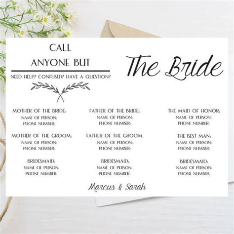 Call Anyone But The Bride Template Phone Number Wedding Call Anyone But The Free Template