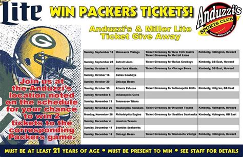 Packers Giveaways - tickets archives anduzzis