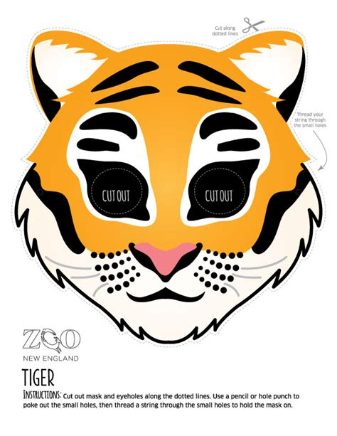 printable tiger mask template zoo masks zoo new england