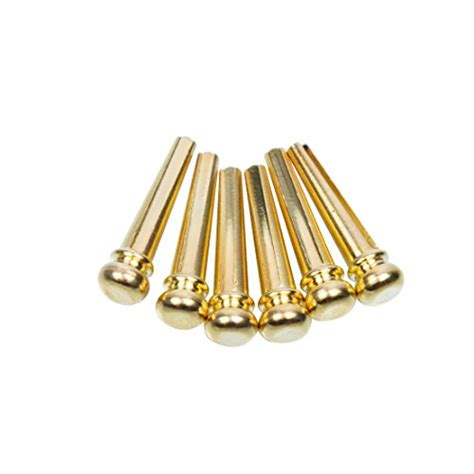 guitar bridge pins 6pcs brass endpin 6 string pegs with electric gold plating acoustic guitar