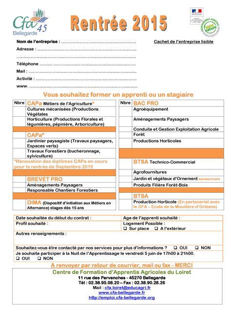 Formulaire Credit Apprentissage 2015 Le Chesnoy Cagne De Recrutement D Apprentis Rentr 233 E De Septembre 2015 Au Cfa
