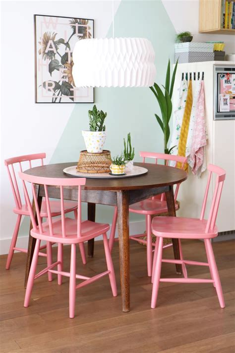 Pink Dining Room Set by Pink Wooden Chair Wooden Table Dining Room Mural With