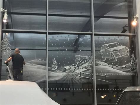 window snow art that i created using snow spray bored panda