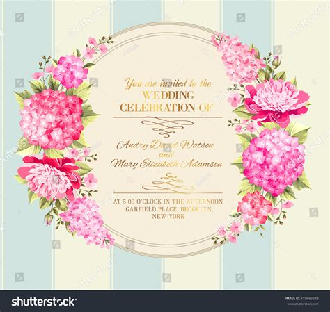 card template for flowers wedding invitation card pink flowers vintage stock vector