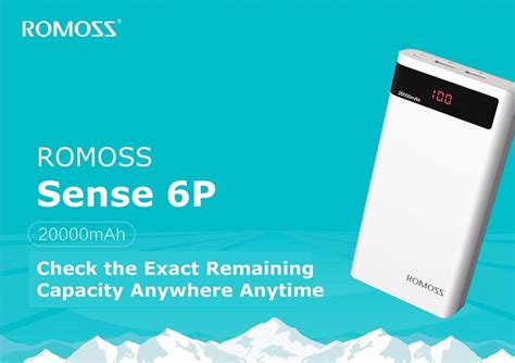 Romoss Sense 6p Power Bank 20000mah Dengan Lcd Display 5v 21a romoss sense 6p 20000mah power bank for smart phones silicon pk
