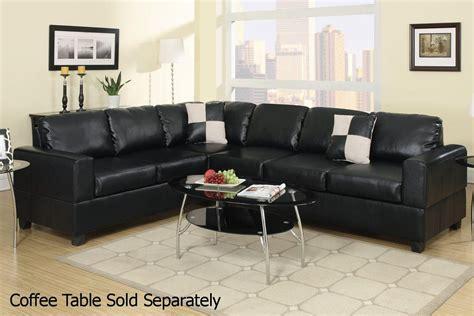 sectional sofa outlet poundex playa f7630 black leather sectional sofa a