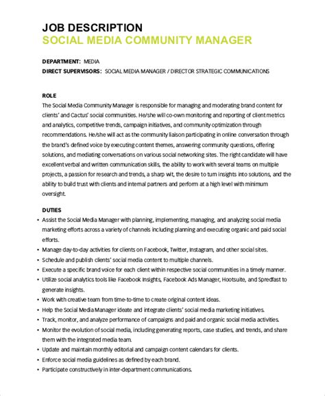 social media manager description 10 social media manager description sles sle