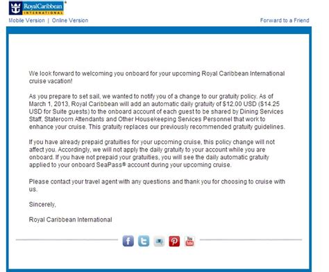 Cruise Ship Cover Letter by Gratuities Royal Caribbean