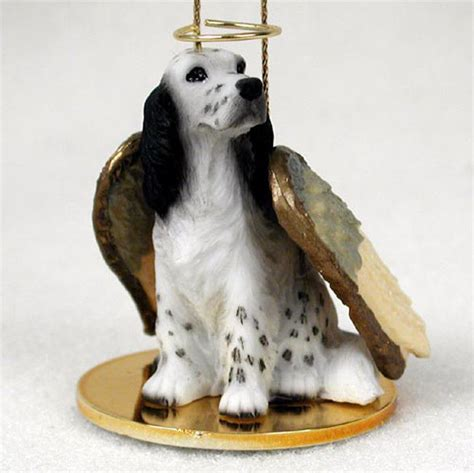 setter dog statue english setter dog figurine angel statue ornament blue