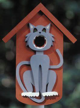 birdhouse decorated  gray cat bird house kits