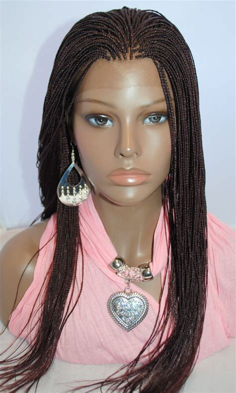 micro braided wigs braided lace front wig micro braids color 99j in 20 inches
