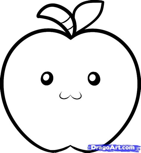 apple drawing how to draw an apple for kids step by step food pop