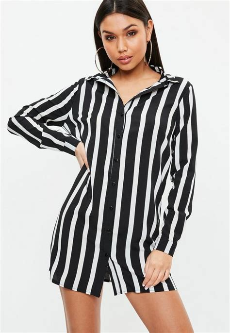Striped Shirt Dress black stripe sleeve shirt dress missguided
