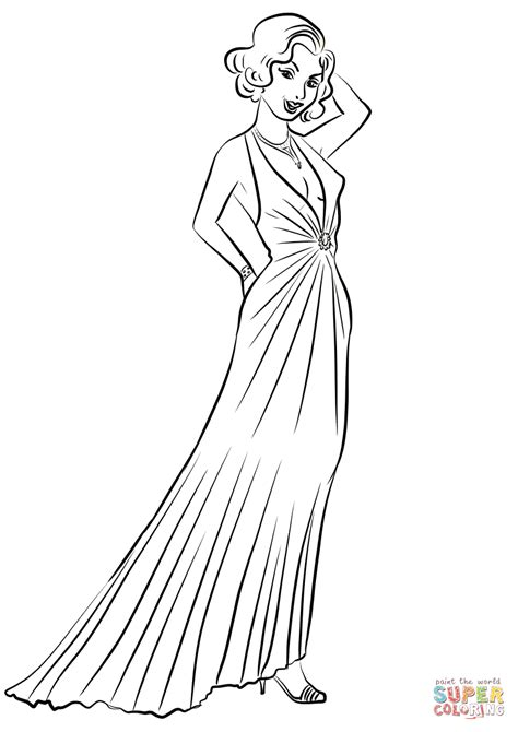 elegant dresses coloring pages 1930 s women s evening dresses coloring page free