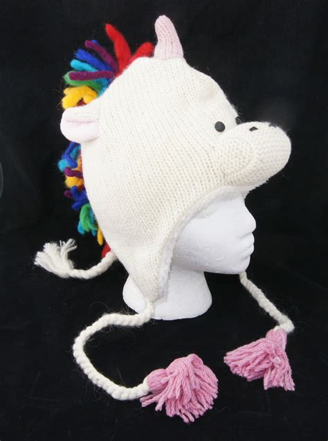 Sandal Bulu Rainbow Fur Unicorn rainbow unicorn hat knit fleece lined white costume mask stallion equestrian