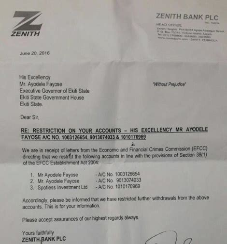 Zenith Bank Letter Of Credit See The Zenith Bank Letter Sent To Ayo Fayose Informing Him Of The Restriction On His Accounts