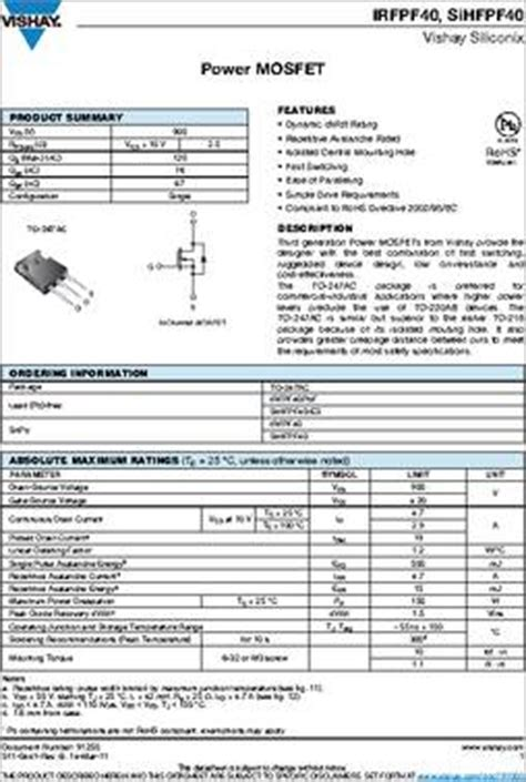 induction cooker junglee fet transistor specifications 28 images irf9640 datasheet specifications mounting type