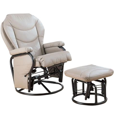 glider with ottoman coaster faux leather recliner glider chair with ottoman in