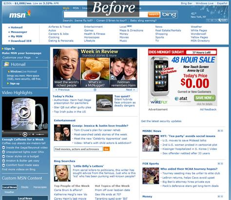 msn com a look at the new msn com design webdesigner depot