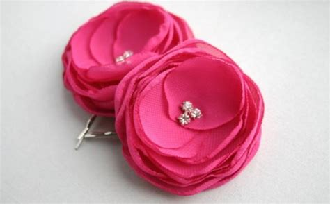 Hair Clip Mini Fuschia Clip 6 pink flower hair accessories pink flower hair wedding hair bridesmaid