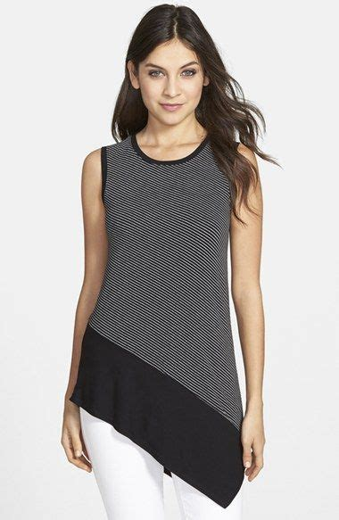 Blouse Asimetri B 1758 vince camuto contrast hem stripe sleeveless asymmetrical top available at nordstrom things to